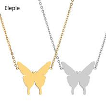 Eleple Korean Fashion Stainless Steel Necklaces for Women Butterfly Pendant Clavicle Chain Jewelry Manufacturers S-N673