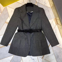 Для женщин куртка осень 2018 отложным воротником дамы тонкий куртка с длинными рукавами с поясом модные Новая куртка
