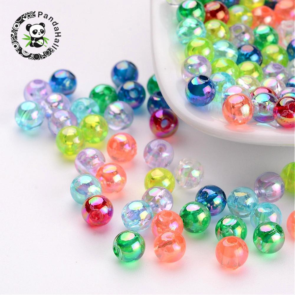 200pcs AB Color Round Transparent Acrylic Spacer Beads