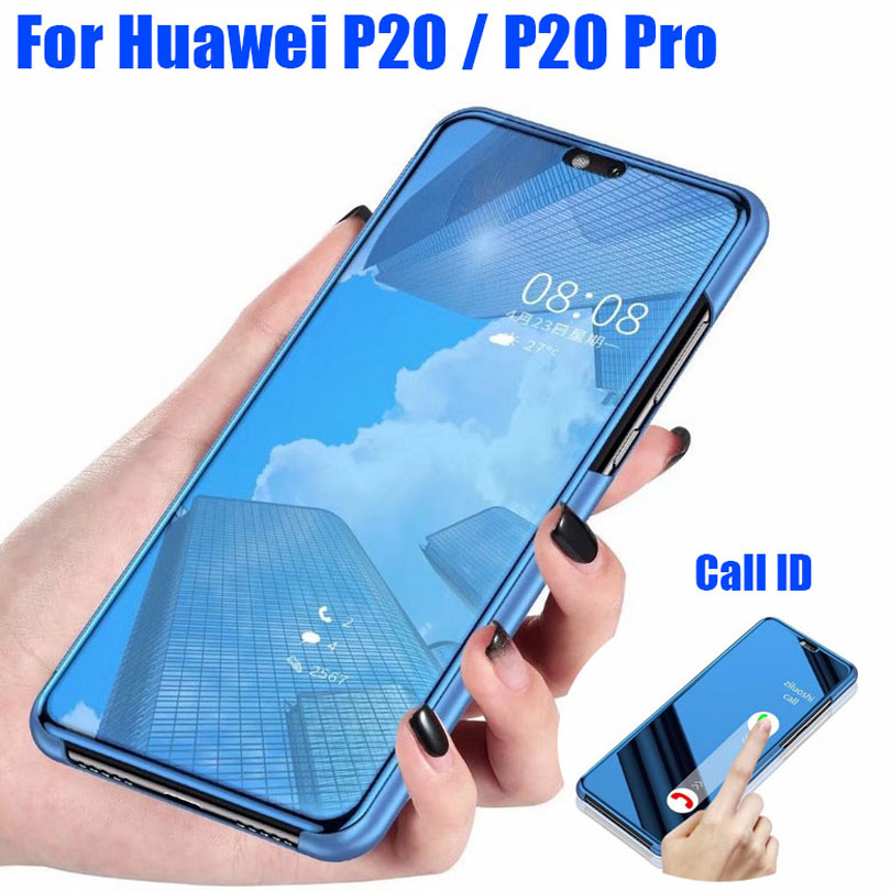 Mirror Clear View Call ID Stand flip Cover PU Leather Case For Huawei P20 Pro Lite HP201