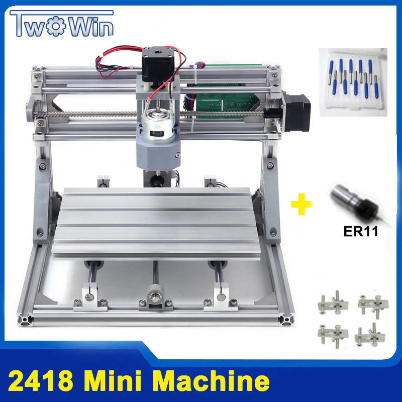 CNC 2418 DIY CNC Machine With GRBL Control, Working Area 24x18x4.5cm,3 Axis Pcb Pvc Milling Wood Router Machine,Wood Machine