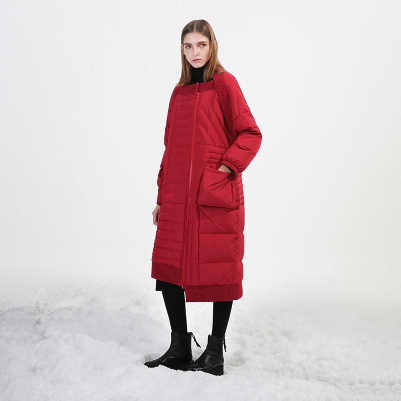 Veste De Duvet Arrivée Nouvelle Conception Originale Canard Femmes D'hiver Lâche 2018 Blanc Rouge Asymétrique Long Manteau Noir qPw6tx7