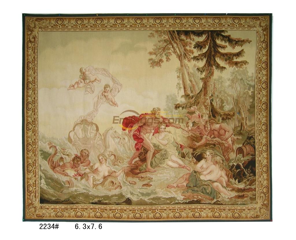 Aubusson antiguo fino tejido de seda tapiz de pared flor Designerthrow cosido a mano bordado arte lana tapiz