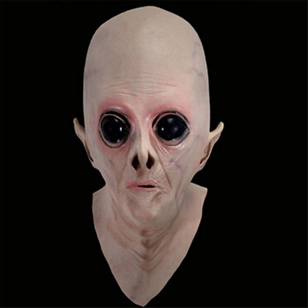 Scary Silicone Face Alien UFO The Extra Terrestrial ET Latex Full Head Mask Party Toy Prop For Halloween Party Cosplay Costume