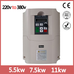 VFD Inverter 4KW 5.5KW 7.5KW 220V in and 380V out single phase 220V household electric input and Real Three-phase 380V output