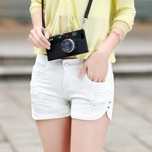Лето джинсовые шорты свободные код эластичный пояс узкие джинсы три белый грудью женщин брюки