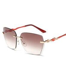 New Fashion Sunglasses Women Brand Designer Luxury Diamonds Gradient Rimless Sun Glasses For Women Female Oculos De Sol Feminino