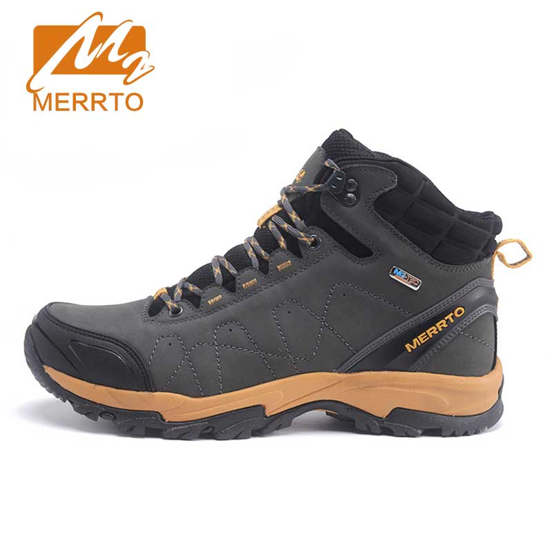 ФОТО MERRTO Skidproof Men Walking Shoes Outdoor Cowhide  Waterproof Breathable Sports Extra Warm With Inner Fleece  Sneakers