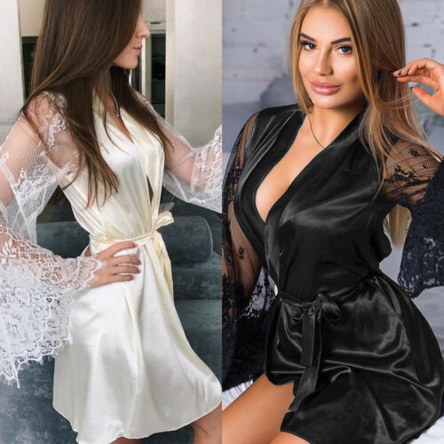 2019 Sexy Hot Women Through Mesh Lingerie Bath Robe Contrast Color Eyelash Floral Lace Patchwork Nightgown Satin Belt Sleepwear