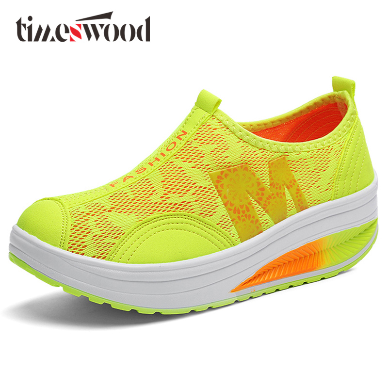 TIMESWOOD Air Mesh Slip On Platform Shoes Fluorescent Flower M Word Women Shoe PU Bottom Casual Breath Sapatos Femininos Casuais футболка dc shoes майка letter word tk m kttp