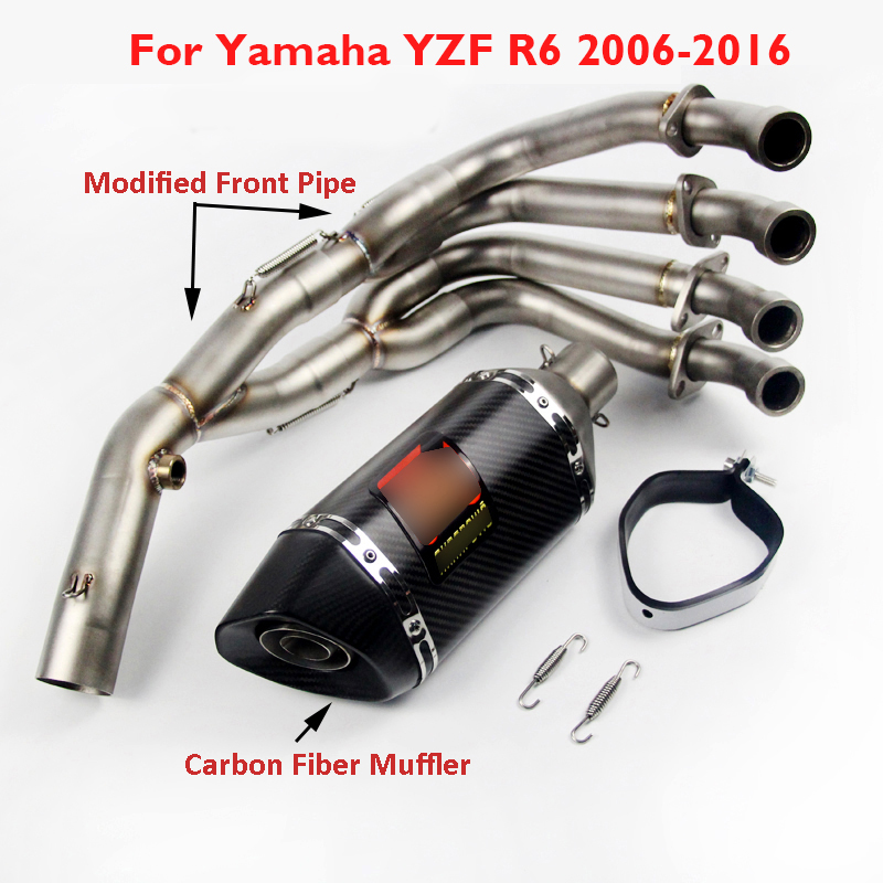 Muffler Pipe Front-Link-Pipe Slip-On Motorcycle Full-Exhaust-System Yamaha R6 for YZF-R6