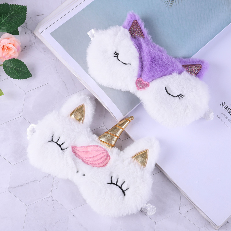 NEW Unicorn Eye Mask Cartoon Sleeping Mask Plush Eye Shade Cover Eyeshade Relax Mask Suitable For Travel Home Party Gifts