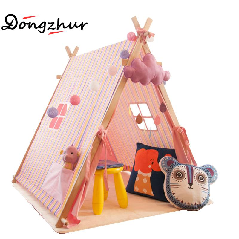 Dongzhur Children Teepees Lace Cream Tent For Kids Play Tent Linen+wood Tipi For 0-12 Baby Ins Hot Children Games Tent In A Pack gordon lewis games for children