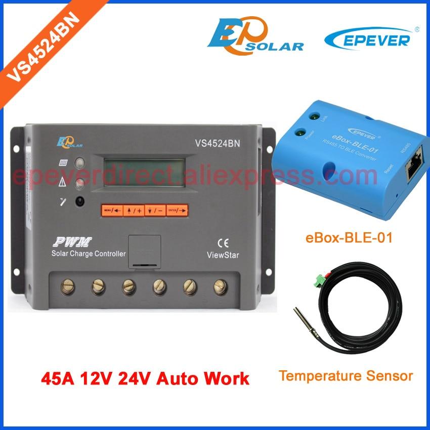 Solar Power Bank Controller Regulator VS4524BN 45A 24V solar panel PWM EPSolar 12V Temperatue sensor and BLE BOX цена
