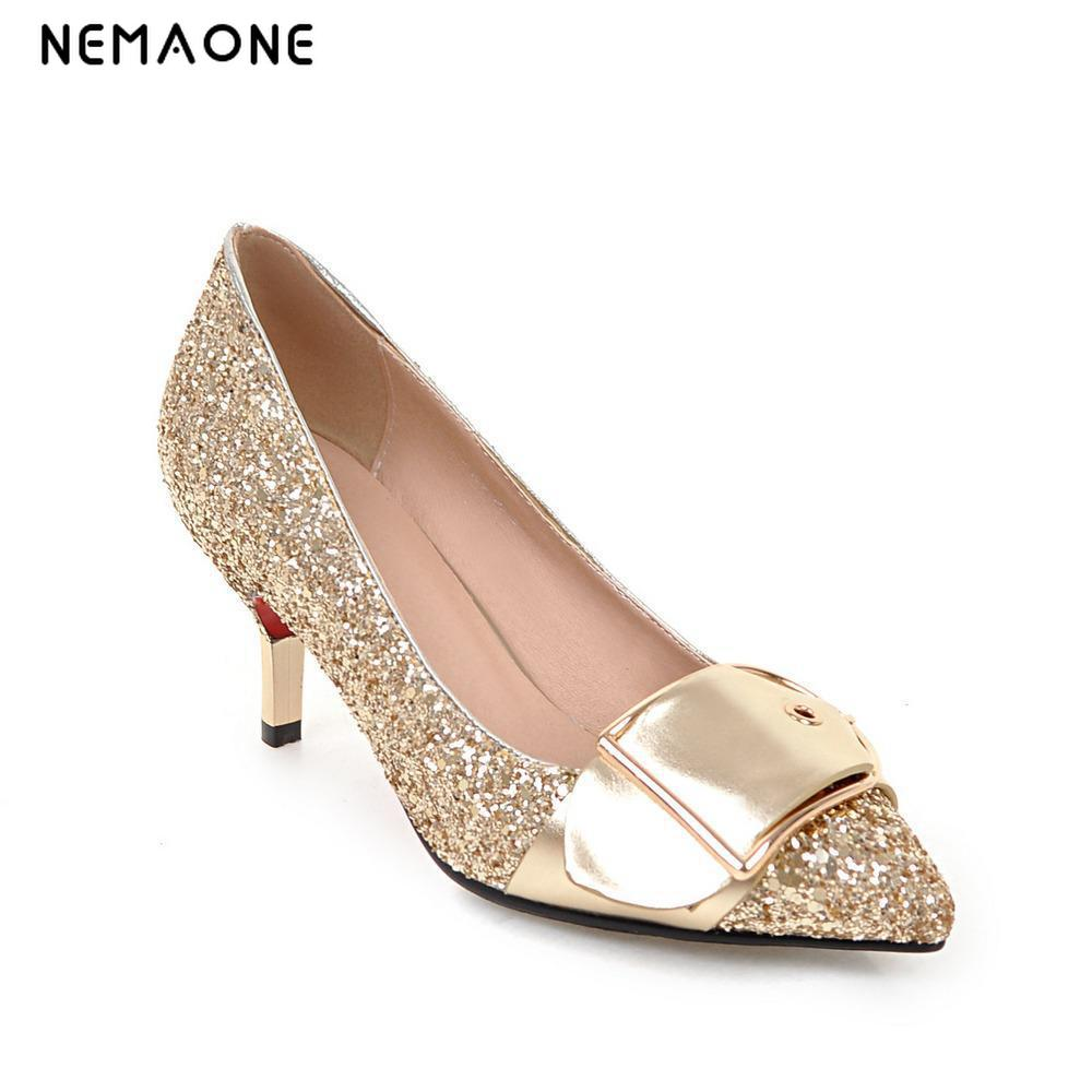 2017 New fashion glitter women shoes thin high heels shoes woman poined toe ladies shoes zapatos mujer large size 34-43 гарнитура jbl e55bt белый jble55btwht