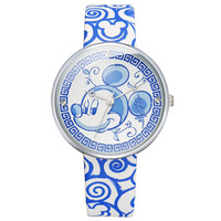 Disney Original Brand Boy Girl Genuine Leather Watches Blue Band Cartoon Clocks Mickey Mouse Head Waterproof