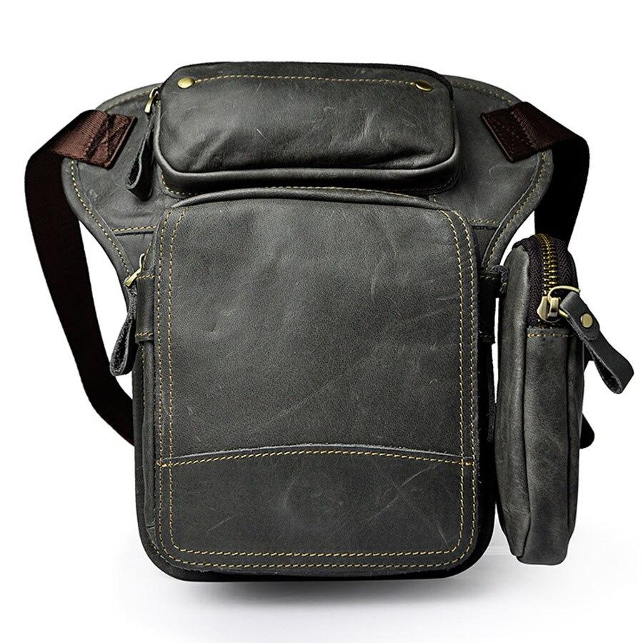 Men s Waist Drop Leg Bag Thigh Hip Bum Belt Oil Wax Leather Messenger Shoulder Bag