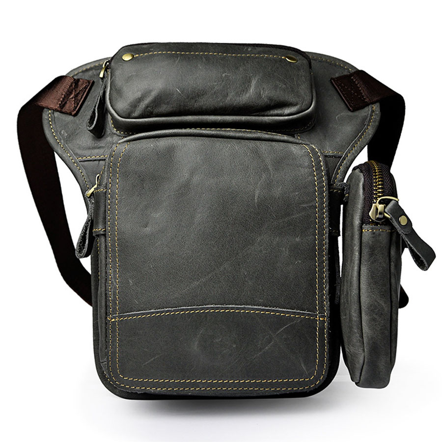 Men's Waist Drop Leg Bag Thigh Hip Bum Belt Oil Wax Leather Messenger Shoulder Bag Travel Motorcycle Riding Fanny Pack-in Waist Packs from Luggage & Bags    1