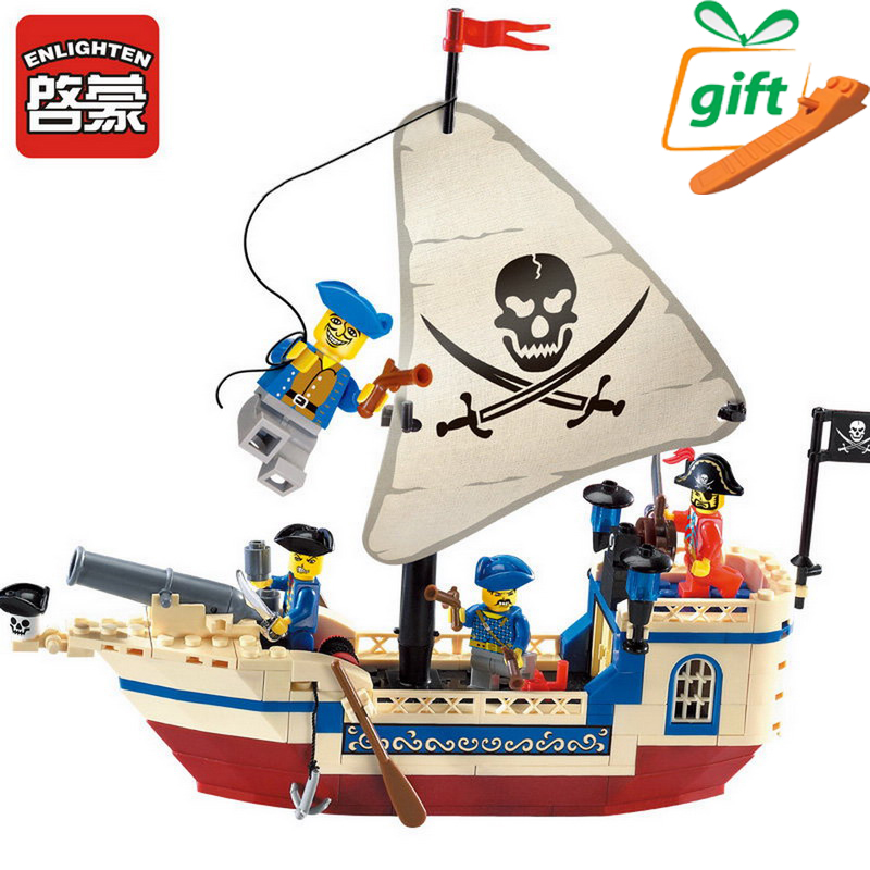 Enlighten 304 Pirates Of The Caribbean Brick Bounty Pirate Ship Building Blocks Pirates Super Boat Assemble Toys For Children 870pcs new pirates of the caribbean brickbeard s bounty 308 model building blocks bricks educational toys compatible with lego