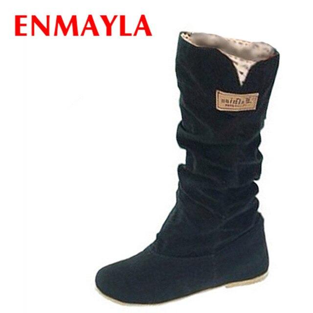 d843019b2 ENMAYLA/размеры 34-43, новые женские зимние сапоги на плоской подошве с  круглым носком, модные зимние сапоги До Колена Для Женщин, повседневная об.