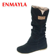ENMAYER  size34-43 new2015 women winter flats round toe fashion knee-high Snow boots for casual shoes sweet platform