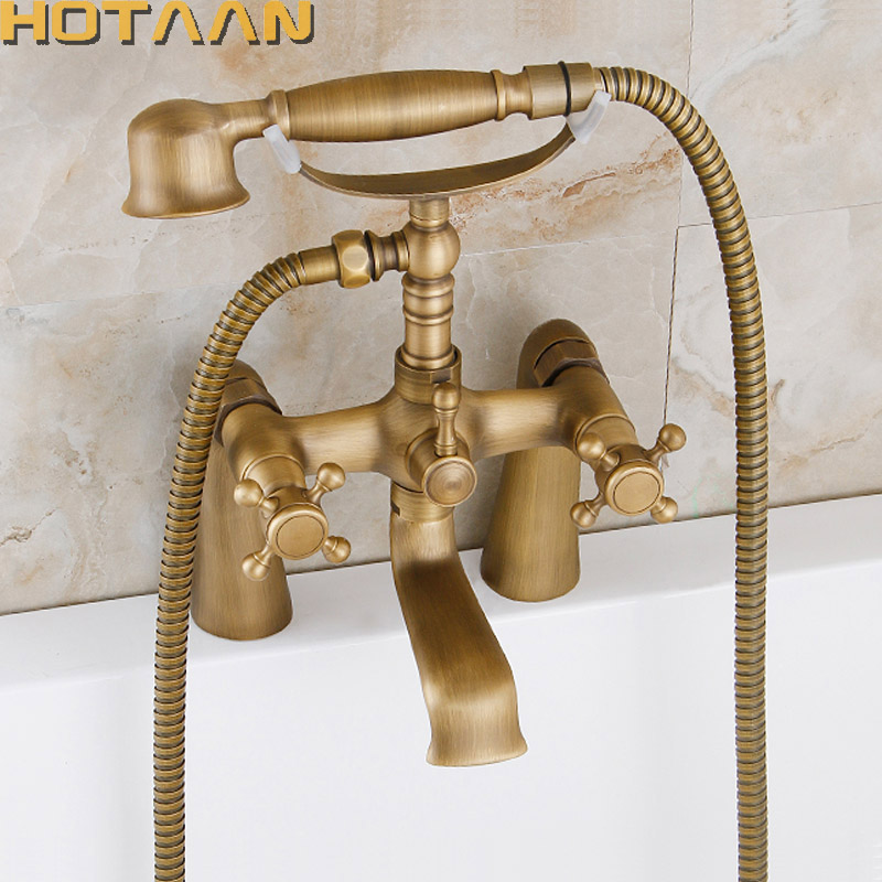 HOTAAN 2017 Free shipping  Bathroom Bath Wall Mounted Hand Held Antique Brass Shower Head Kit Shower Faucet Sets YT-5353 xueqin countryside style bathroom shower head water saving all copper hand held bath showerhead faucet spray