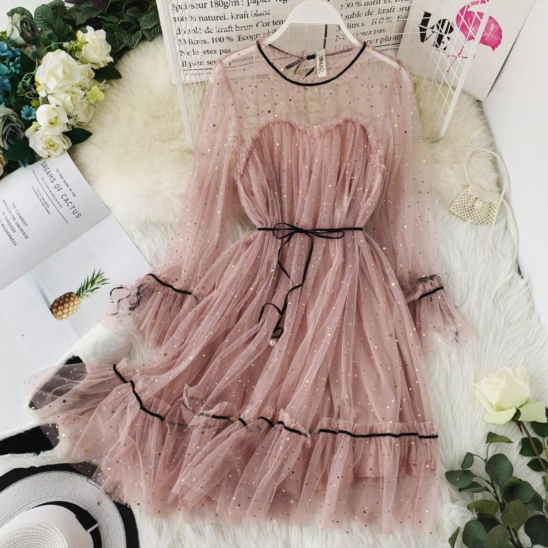 HISUMA spring autumn new women Star sequins gauze flare sleeve lace-up Princess dress female elegant o-neck mesh puff dresses 1