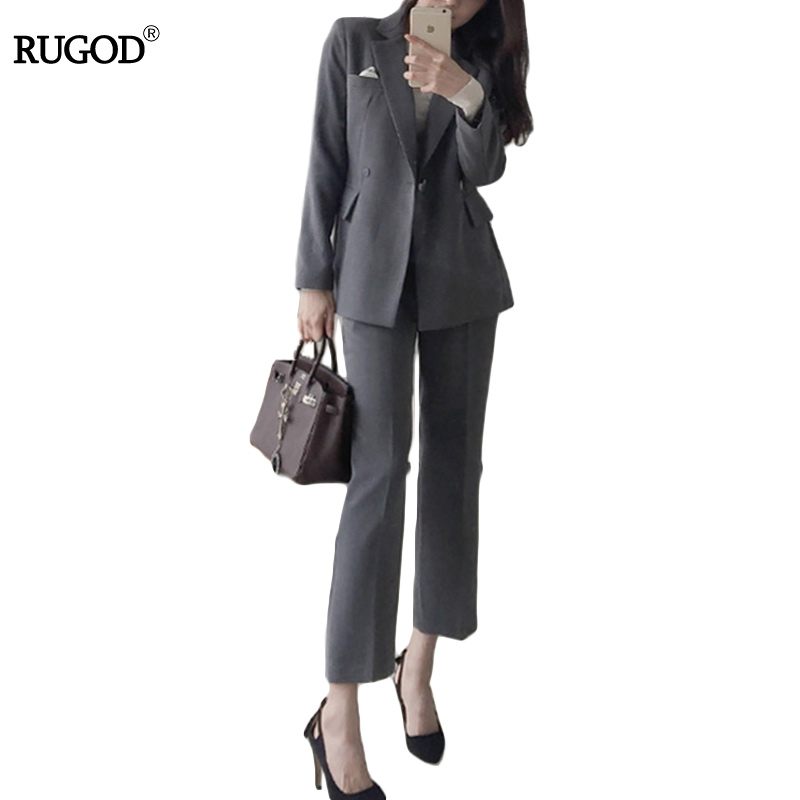 2018 RUGOD New Arrival Spring Slim Women Blazer Coat Long Sleeve Button Suit and straight Trousers Ladies Work Wear