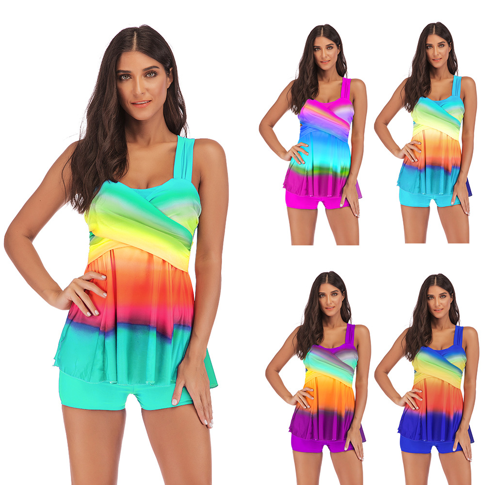 Tankini Gradient Colorful Plus Size 5XL Swimsuit Women's Separate Bikini High Waist Bather Push Up Two Piece Suit