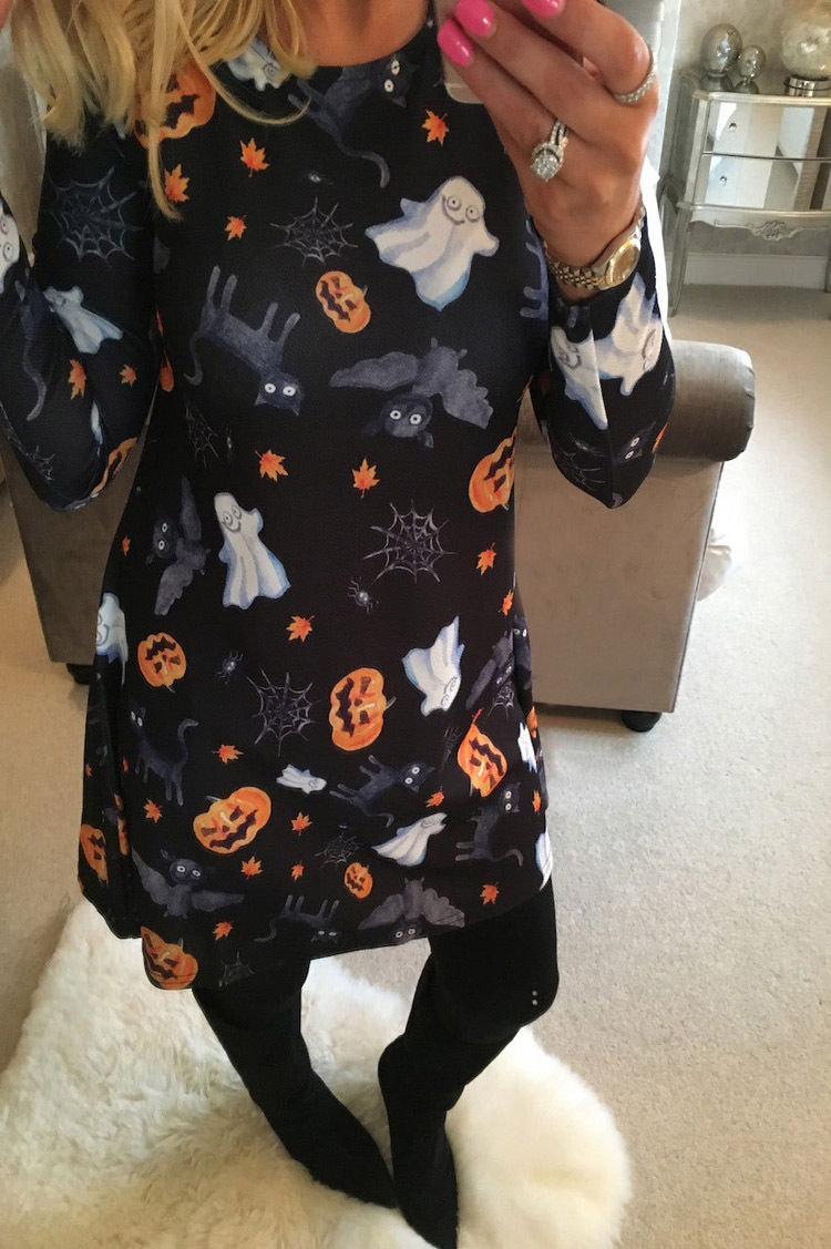 Brand Autumn Winter Women Dress Christmas Cartoon Print Dress Plus Size Long Sleeve 2019 Party Slim Short Dresses Vestidos Black in Dresses from Women 39 s Clothing