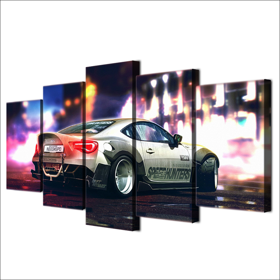 Printed HD Wall Art Modular Modern Canvas 5 Panel Night Scene Sports Car Living Room Pictures Home Decor Poster Painting Frame