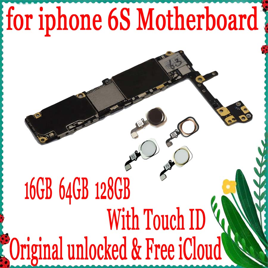 Original <font><b>unlocked</b></font> for <font><b>iphone</b></font> <font><b>6S</b></font> Motherboard With/Without Touch ID,Clean iCloud for <font><b>iphone</b></font> <font><b>6S</b></font> 4.7inch <font><b>Logic</b></font> <font><b>board</b></font> 16gb 64gb 128gb image
