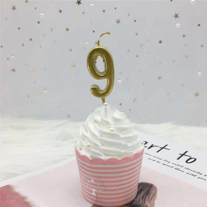 1 шт. серебряные золотые свечи для счастливого дня рождения украшения для детей и взрослых 0-9 свечи с цифрами торт Кекс Топпер вечерние партия поставки