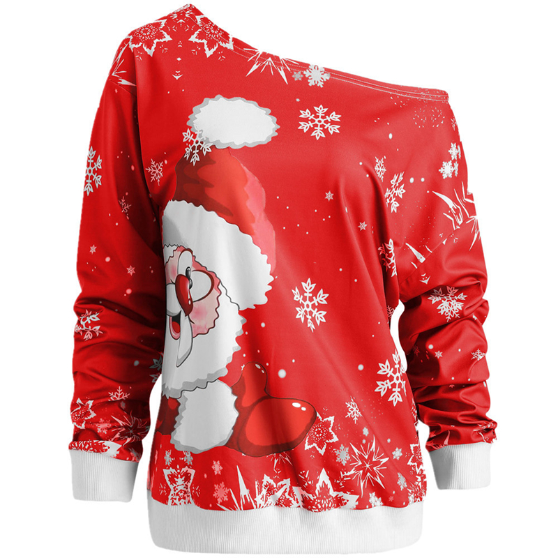 Women Jumper Christmas Sweater Pullover Tops Coat Snowflake Winter Off Shoulder Warm Brief Sweaters Clothing Sweater