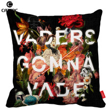 Black Vintage Flower Inspiration Script Ward Print Car Decorative  Pillowcase Pillow Cases Cushion Covers Sofa Home