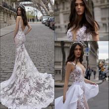 NOBLE BRIDE 2019 Sexy Open Back Lace Wedding Dress