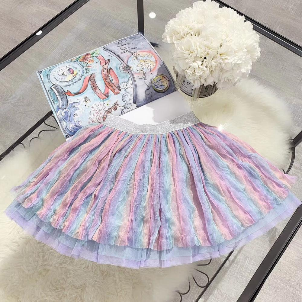 Autumn New Princess Colorful Tutu Skirts For Girls Cute Rainbow Wrinkle Beach Skirts Cotton Linning 90-150cm