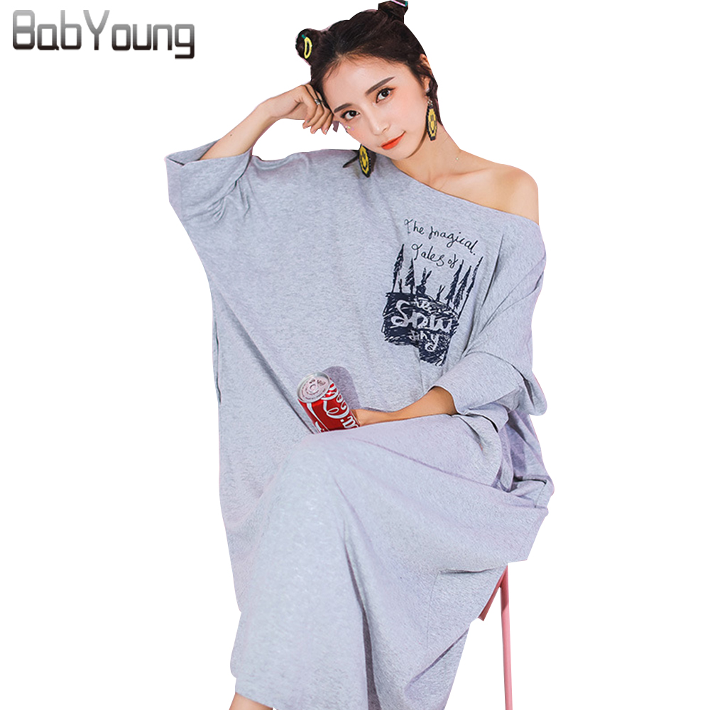 BabYoung 2018 Summer Women Nightgowns Long Nightdress Cotton Slash Neck Sexy Lingerie Loose Night Sleep Dress Sleepwear Gecelik ...