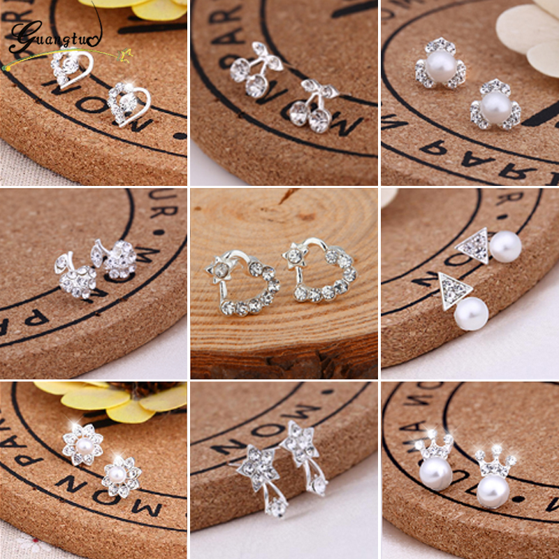 2017 New Fashion Exquisite Stud Earrings Cute Cherry Star Crown Crystal Imitation Pearl For Women Piercing