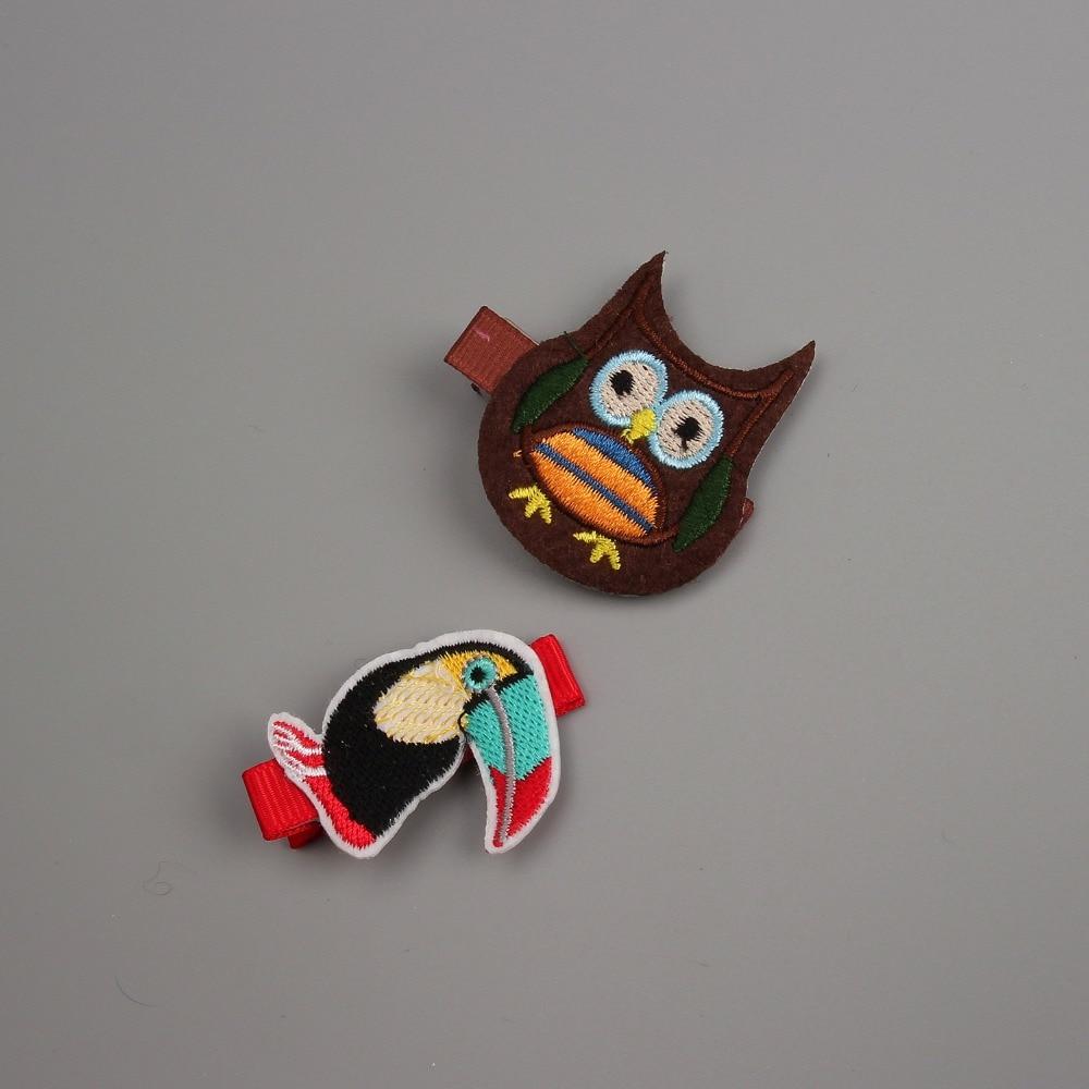 1PCS Newly Design Embroidered Owl Big Mouth Bird Hairpins Children Headdress Girls Hair Clips Headwear Baby Hair Accessories