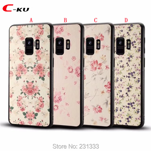 C-ku Flower Leather TPU + PC Hard Case For Samsung Galaxy S9 S8 PLUS A8 Plus 2018 Hybrid Back Cover Skin Luxury 1pcs