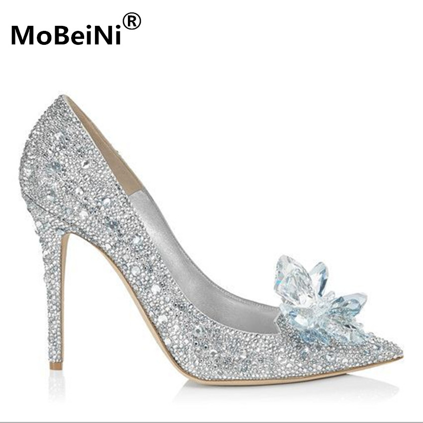 Brand Shoes Woman High Heels Pumps Crtystal 11CM Women Party Shoes Rhinestones High Heels Wedding Shoes Pumps Silver Shoes Heels 2017 new high heeled shoes woman pumps wedding shoes platform fashion women shoes red high heels 11cm suede