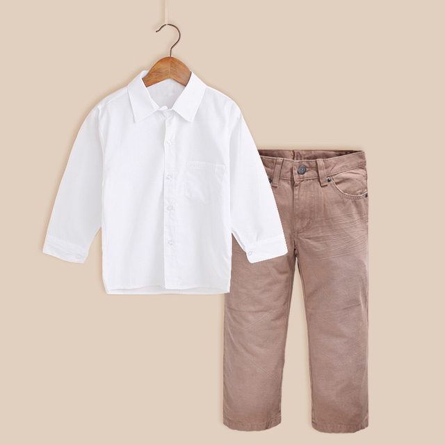 db061ce46 Teen Children Boys Clothing Set Spring Autumn White Shirt Pants ...