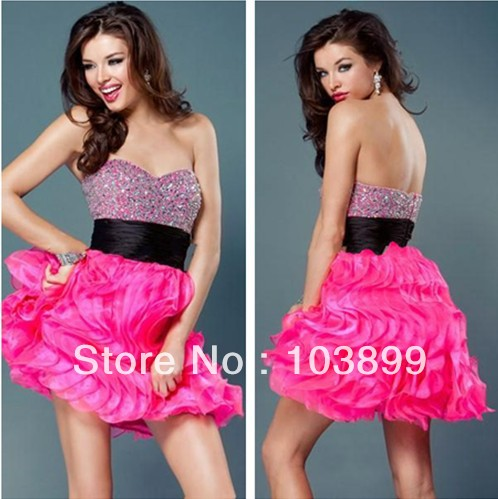 85d75a5961a Sexy Gathered Romantic A-line Sweetheart Crystals Short Organza Hot Pink  Prom Dress 2013