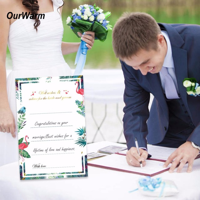 ourwarm 50pcs wedding wishes cards for wedding decoration flamingo theme wishes advice for bride and groom