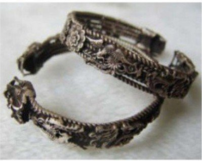 Rare Asian Pair Miao dragon Silver Bracelets shipping free