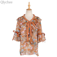 Qlychee Floral Print Ruffle Flare Sleeve Bow Blouse Women Summer Korean V Neck Half Sleeve Shirts