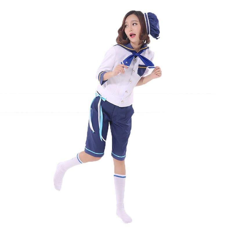 Ensemble Stars Navy Uniform Mashiro Tomoya Nito Mazuna Tenma Mitsuru Shino Hajime Cosplay Costume with hat and socks