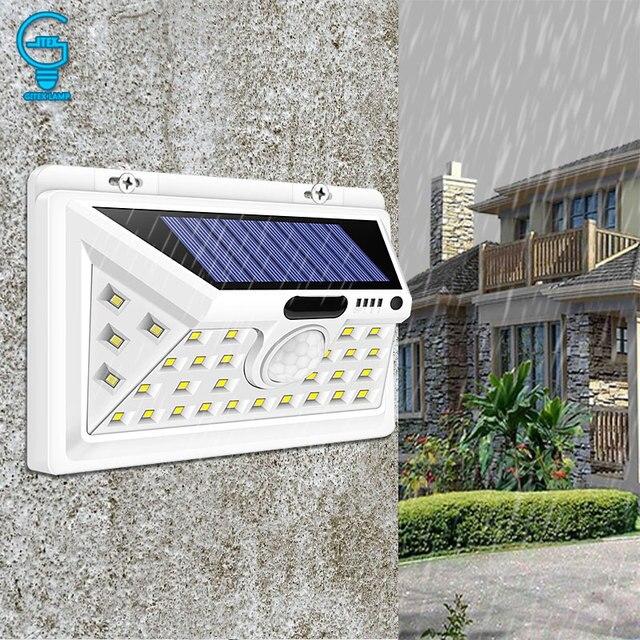 34 LED Solar Light Motion Sensor Solar Powered Night Security Wall Lamp Waterproof Garden Light for Patio Lawn Garden Corridor
