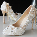 Luxury Beautiful Pointed Toe Pearl Bridal Wedding Dress Shoes Comfortable Ivory Shoes for Bride Anniversary Party Shoes